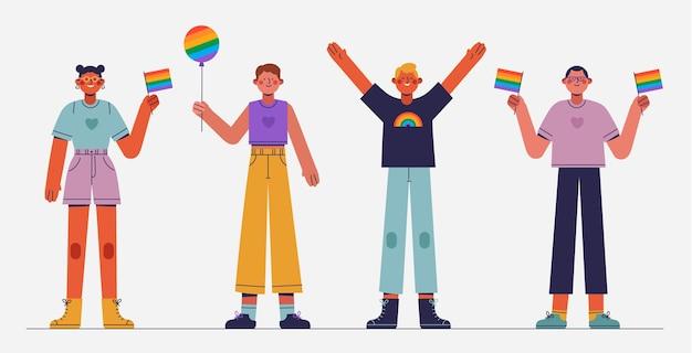 Flat pride day menschen sammlung