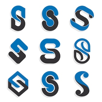 Flat s logo vorlagen sammlung