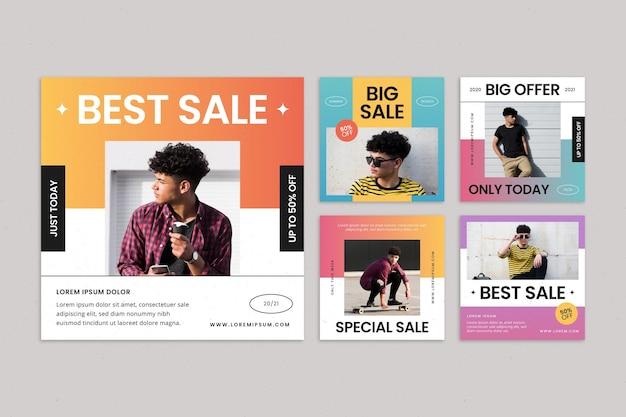 Flat sale instagram post set