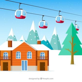 Flat ski station design mit lift