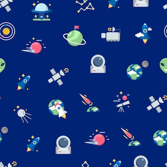 Flat space icons hintergrundmuster