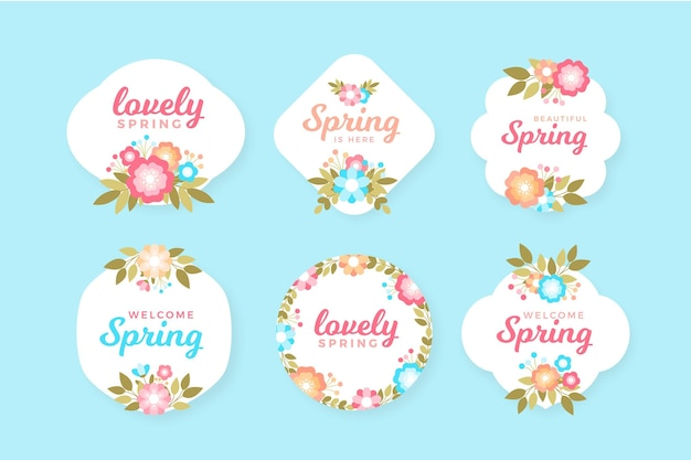 Flat spring badge set