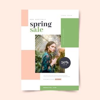 Flat spring sale flyer vorlage mit foto