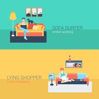 Flat style set menschen sofa freizeit entspannen online-aktivität. sitzender mann laptop internetseite surfen. liegende junge frau wohnzimmer laptop einkaufen internet bestellen. kreative personensammlung.