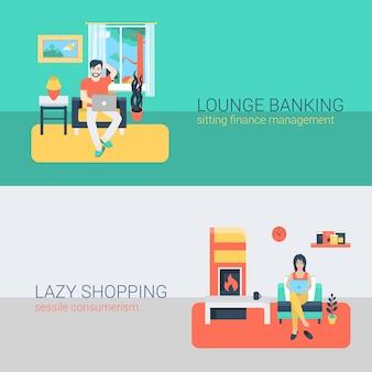 Flat style set menschen sofa freizeit entspannen online-aktivität. sitzender mann laptop online-banking finanzmanagement. junge frau kamin laptop einkaufen sessile konsum. kreative personensammlung.