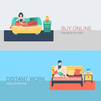 Flat style set menschen sofa freizeit entspannen online-aktivität. sitzender mann tablet online surfen entfernt schlafzimmer arbeit. internet-shopping-wohnzimmer der jungen frau. kreative personensammlung.