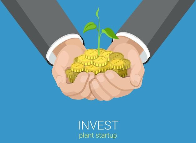 Flat style wachsen geschäftsinvestitionskonzept