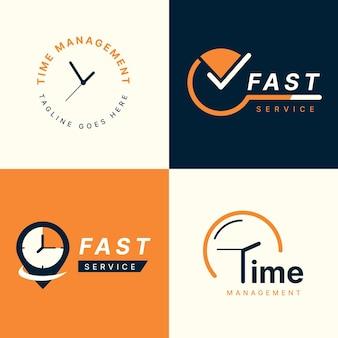Flat time logo template sammlung