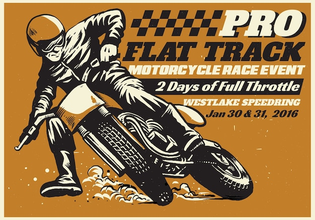 Flat track motorradrennen-ereignisplakat