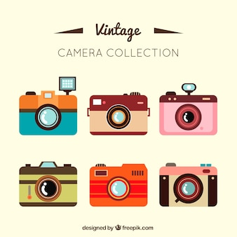 Flat vintage kamera sammlung