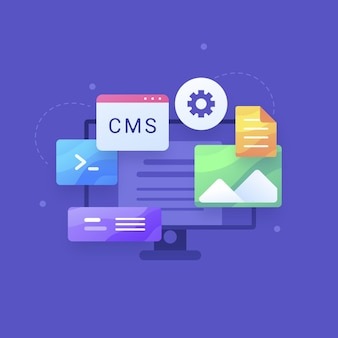Flat web development konzept cms
