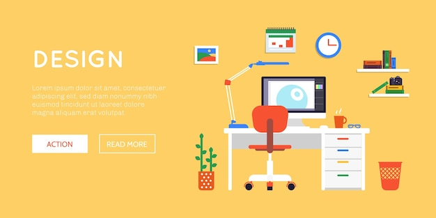 Flat workspace site web-banner