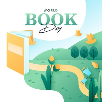 Flat world book day konzept