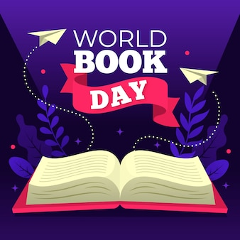 Flat world book day konzept