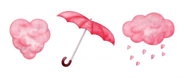 Flaumige rosa wolken in der herzform, herzförmiger regen, roter regenschirm. aquarell rosa elemente