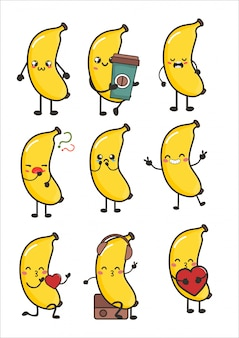 Flauschige banane kawaii emotionen frucht emotionen