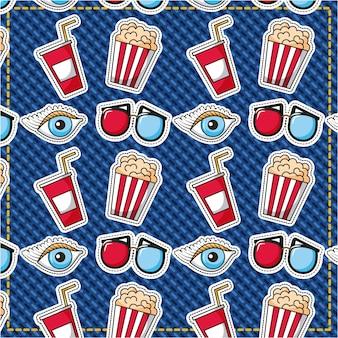 Flecken fast-food-film 3d brille auge popcorn hintergrund