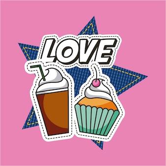 Flecken milchshake und cupcake liebe dessert essen