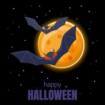 Fledermäuse fliegen im nachthimmel auf dem hintergrund des vollmonds. halloween hintergrund. illustration