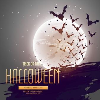 Fledermäuse vor mond halloween hintergrund fliegen