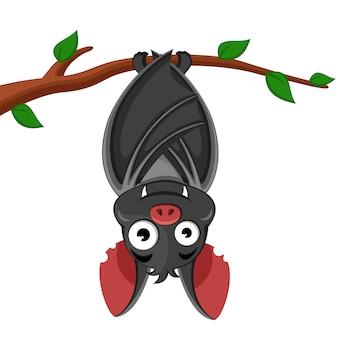 Fledermaus hängt kopfüber an einem ast. charakter