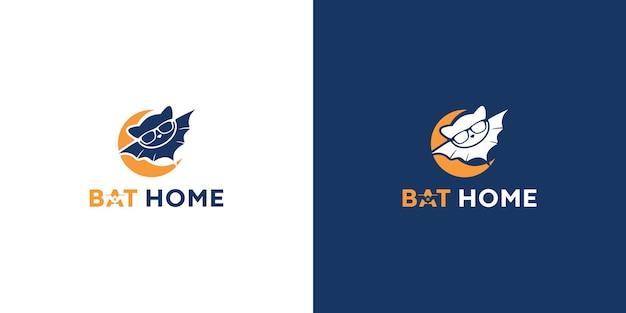 Fledermaus home logo illustration premium-vektor