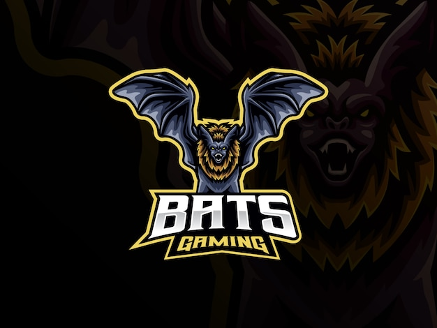 Fledermaus maskottchen sport logo design