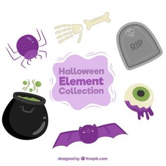 Fledermaus mit anderen halloween-elementen