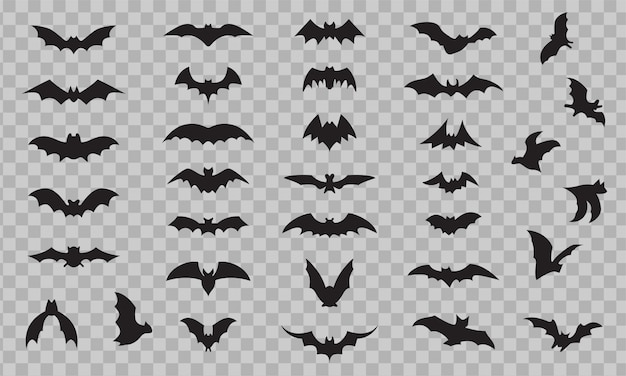 Fledermaus-symbolsatz lokalisiert auf transparentem hintergrund. schwarze fledermaus-silhouetten