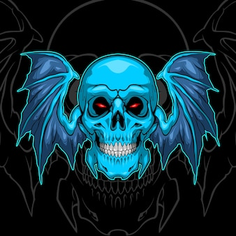 Fledermausflügel blauer schädel