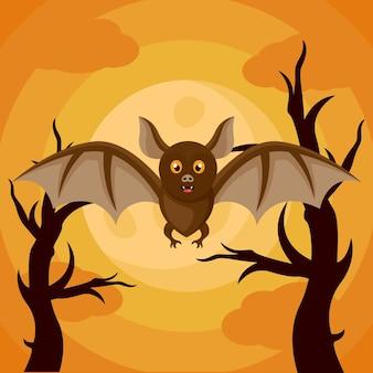 Fledermausmonster-logo-design für halloween-plakat oder hintergrund