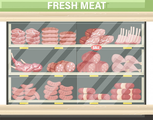 Fleisch einkaufen stehen