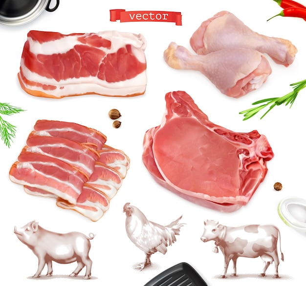 Fleisch essen. rindfleisch, schweinefleisch, hähnchenschenkel illustrationssatz