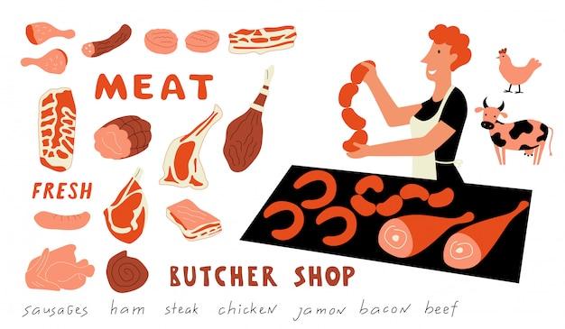 Fleisch lustig gekritzel set. nette karikaturfrau, lebensmittelmarktverkäufer mit landwirtschaftlichen produkten. hand gezeichnet isoliert auf weiß.