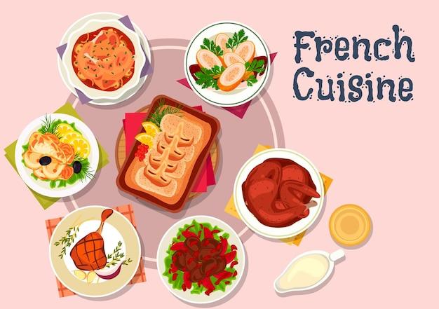 Fleisch- und fischgerichte der französischen küche mit kabeljau und bechamelsauce