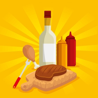 Fleisch und schenkel mit bbq-soßenvorbereitung