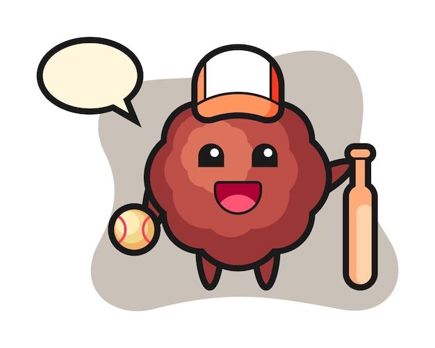 Fleischbällchen-cartoon als baseballspieler
