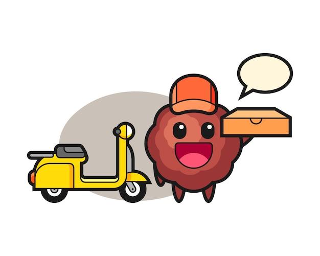 Fleischbällchen-cartoon als pizzabote