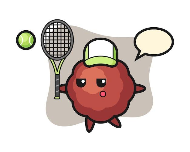 Fleischbällchen-cartoon als tennisspieler