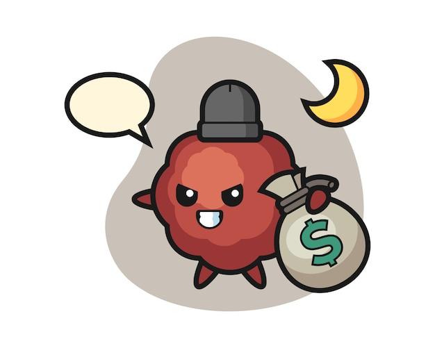 Fleischbällchen-cartoon hat das geld gestohlen