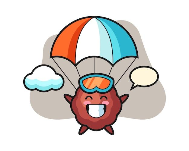 Fleischbällchen-cartoon ist fallschirmspringen mit fröhlicher geste