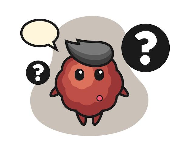 Fleischbällchen-cartoon mit dem fragezeichen