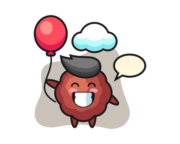Fleischbällchen-cartoon spielt ballon