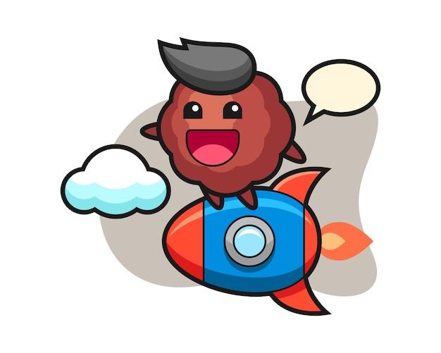Fleischbällchen-karikatur, die eine rakete reitet