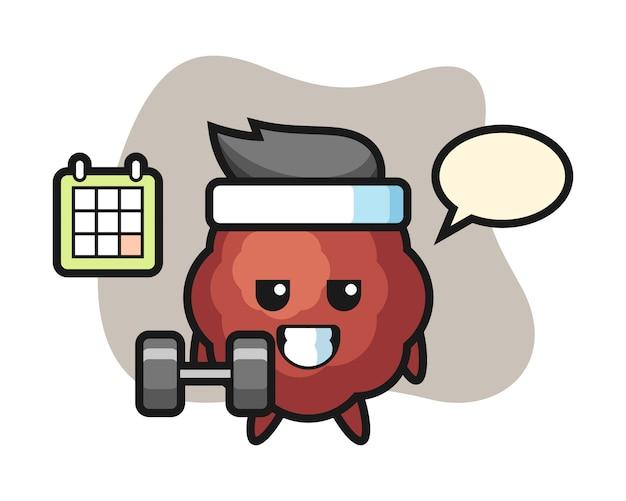 Fleischbällchen-karikatur, die fitness mit hantel tut