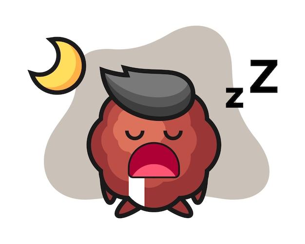 Fleischbällchen-karikatur, die nachts schläft