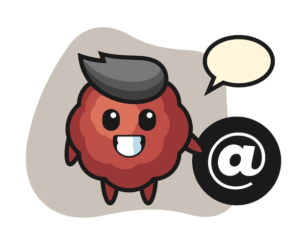 Fleischbällchen-karikatur, die neben dem at-symbol steht