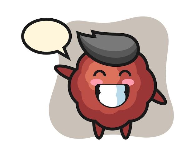 Fleischbällchen-karikatur, die wellenhandgeste tut