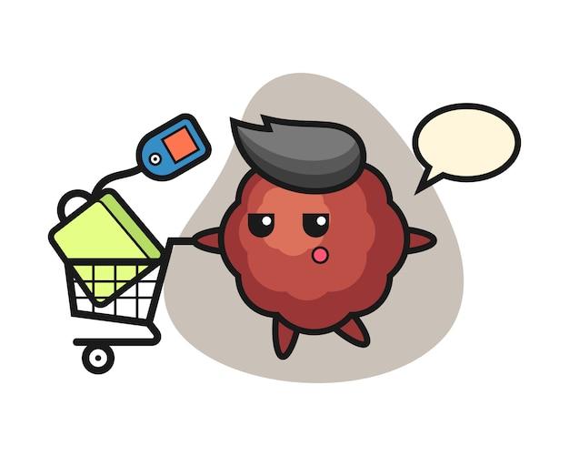 Fleischbällchen-karikatur mit einem einkaufswagen
