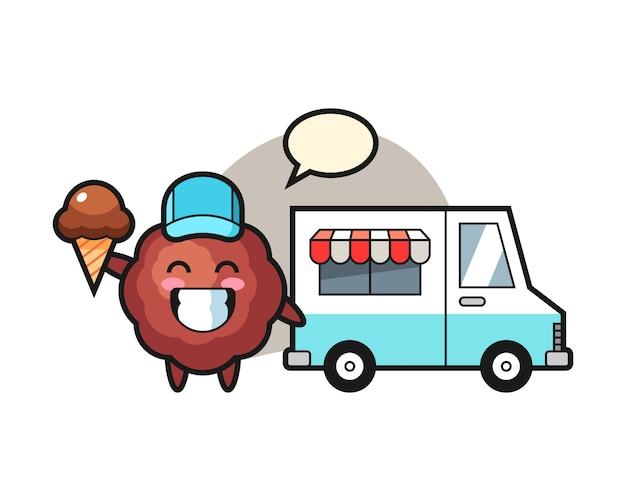 Fleischbällchen-karikatur mit eiswagen